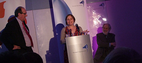 Nicola Smith accepting the Work Foundation's Blogger of the Year Award