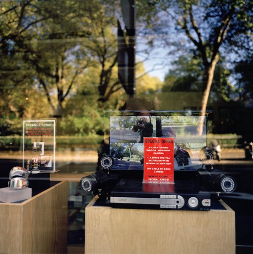 Photo of surveillance equipment in the shop window. Photo Colin McPherson