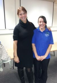 Gloria De Piero, MP for Ashfield, with one of her constituents
