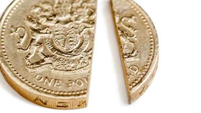 pound coin cut