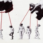 Artwork showing images of women atatched to string held by two large hands above them - like puppets.