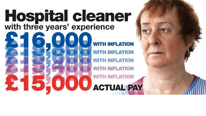 Hospital cleaner's pay