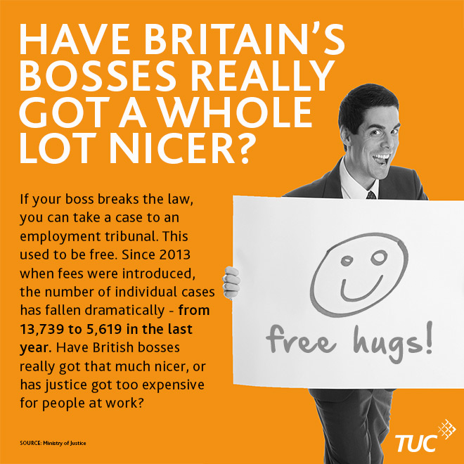 """A graphic with a photo of a man in a suit holding up a sign saying """"free hug"""" under the headline: Have Britain's bosses really got nicer?"""