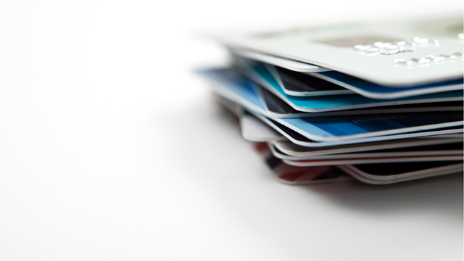 Stack of credit and bank cards