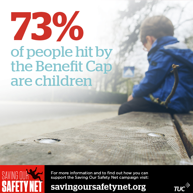 "Image of a sad looking child sitting on a bench with the following text: ""73% of people hit by the Benefit Cap are children"""
