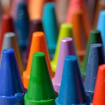 Photo of brightly coloured crayons