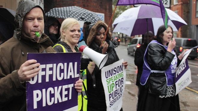 NHS workers on picket line