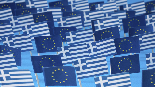 Greek and European flags