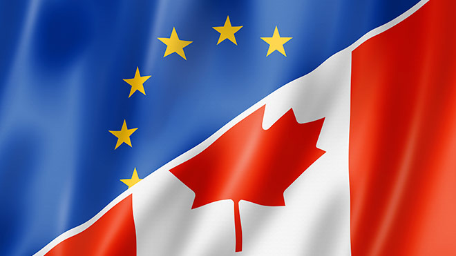 CETA - Candian and EU flags