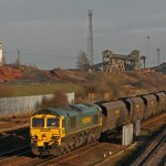 Coal train passing Hatfield Colliery