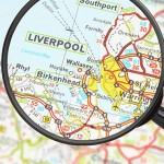 Liverpool close up on map