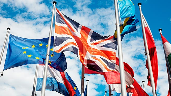 EU, UK and other national flags