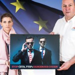 TUC European Officer Elena Crasta and Unite Assistant General Secretary Steve Turner present the CETA petition at the European Parliament