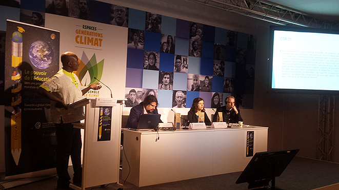 'Academic and student representatives speaking at the Paris COP