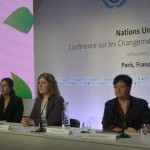 Sharan Burrow (second from right) at COP21 press conference
