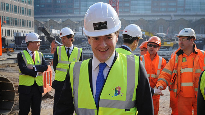 George Osborne visits a building site