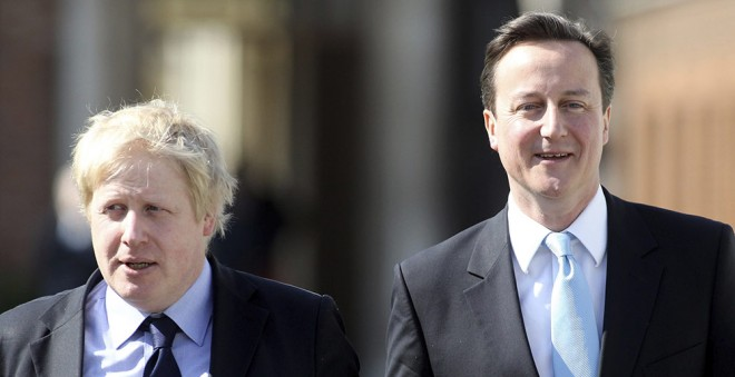 Boris Johnson and David Cameron. Photo by Oli Scarff