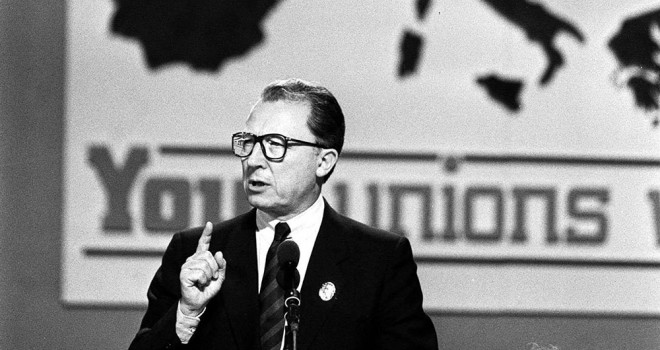 Jacques Delors at the TUC. Photo: Martin Keene / PA Archive