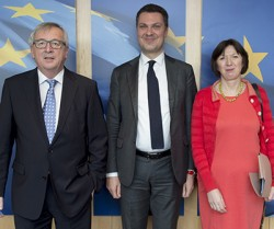 Taking our concerns to Jean Claude Juncker with ETUC's Luca Visentini. Photo: European Commission