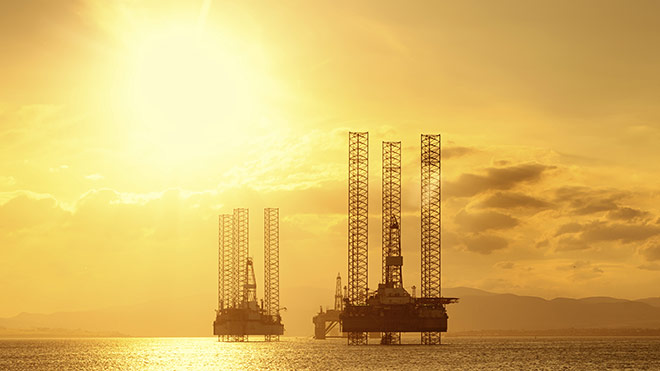 North Sea oil rigs moored in Cromarty Firth, Scotland