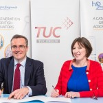 HS2 and TUC Framework Agreement Launch and signing. Simon Kirby (CEO, HS2) and Frances O'Grady (General Secretary, TUC) sign the agreement. Held at HS2 in Euston, former Temperance Hospital in Euston. 6th April 2016.