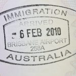 Australian immigration stamp in passport
