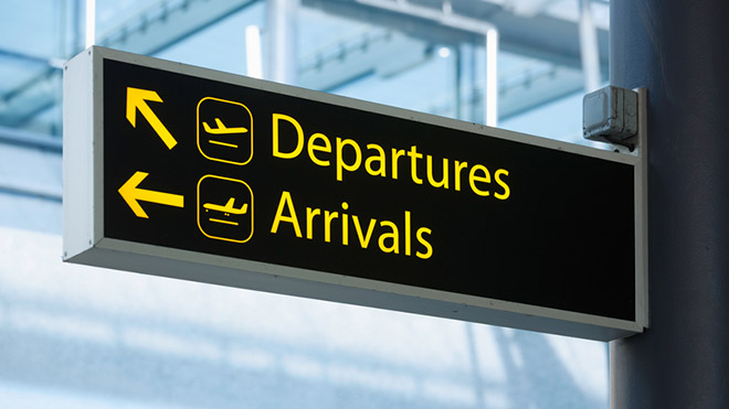 Departures and arrivals in airport