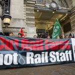 Campaigners and environmentalists protest cuts to rail services and staffing. © Jess Hurd /reportdigital.co.uk