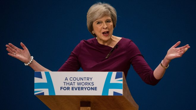 Theresa May at Conservative Conference 2016. Photo: James Gourley /REX /Shutterstock