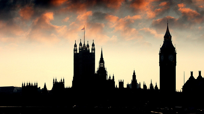 Silhouette of the Houses of Parliament at dusk