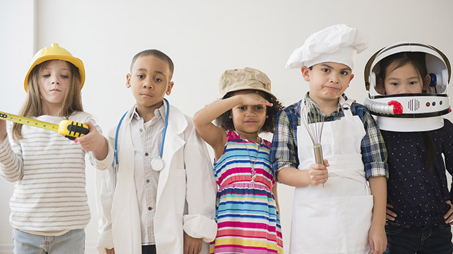 Children dressed as workers from different industries