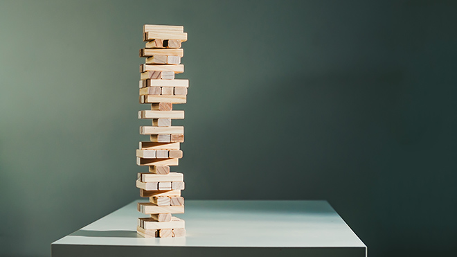 Unstable Jenga tower