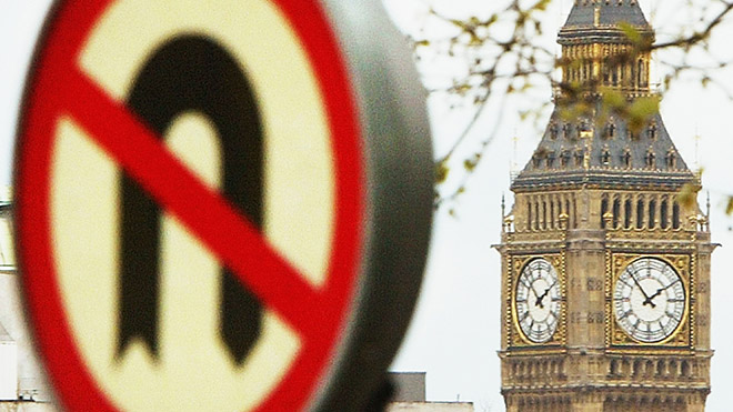 No u-turns sign outside Parliament