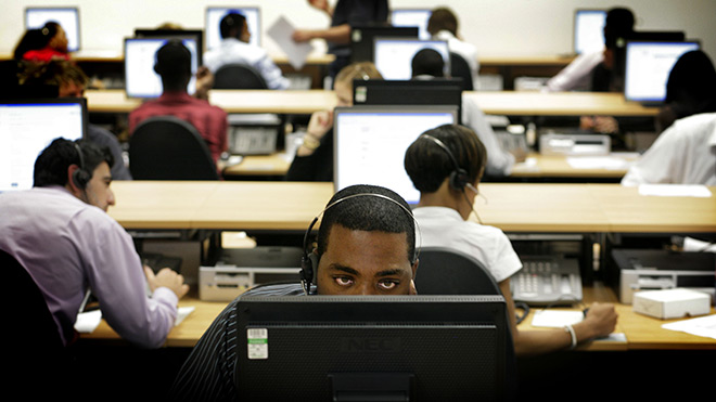 Workers in a government call centre