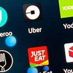 Gig economy employer apps on a smartphone screen