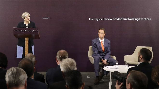 Matthew Taylor and Theresa May launch the Taylor Review report