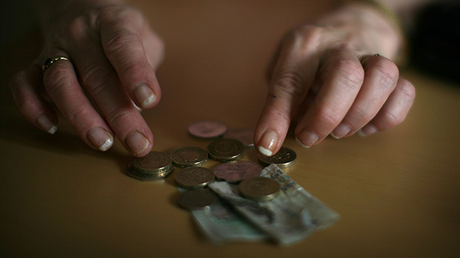 pensioner counting money
